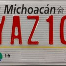 Mexico: Michoacan Motorcycle License Plate (YAZ10)