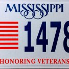 2015 Mississippi Honoring Veterans License Plate (1478 HV)