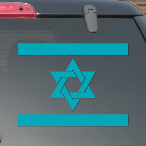 "5"" x 3.75"" - Israel Flag - Light Blue Color - Pick Color - Vinyl Decal Sticker"