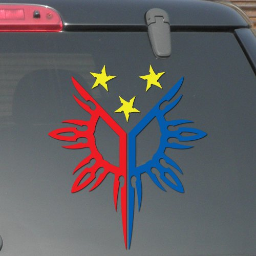 "7"" x 6"" - Philippines Flag - Three Color Decal - Pinoy Pinay - Vinyl Decal Sticker (Design #-01)"