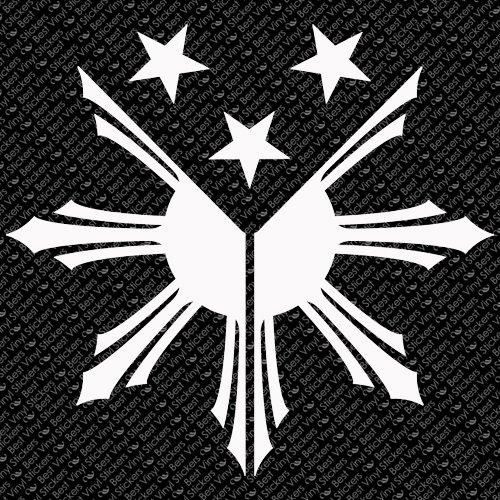 "7.5"" x 7"" - Philippines Flag - White Color - Choose Your Color - Vinyl Decal Sticker (Design # 3)"