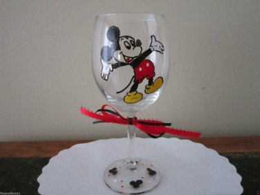 Hand Painted Glass MICKEY MOUSE Wine Glass YELLOW SHOES