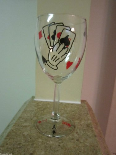 Hand Painted Wine Glass Cards Poker Black Jack Las Vegas Stemwware