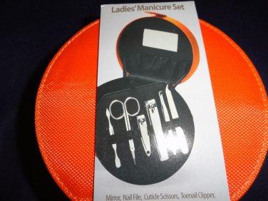 Manicure Gift set, Fingernail kit, Pedicure Set Orange Case Ladies Beauty ~ NEW