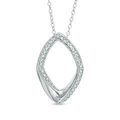 Zales Diamond Geometric Diamond Pendant Necklace sterling silver ~ NIB