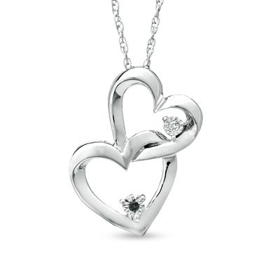Zales Interlocking Black White Diamond Hearts Pendant necklace Sterling Silver