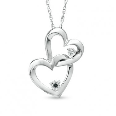 Zales Interlocking Black White Diamond Hearts Pendant necklace Sterling Silver