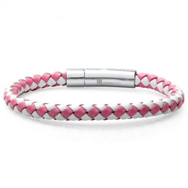 Oxford Ivy Braided Pink and White Leather Bracelet 7 1/2 inch