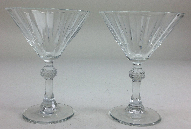 Clear Diamond Martini Glasses Set of 4