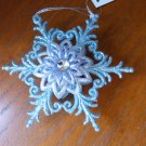Snowflake Glittery blue with rhinestone in center Chrismas Ornament