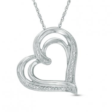 Zales Diamond Tilted Heart Pendant in Sterling Silver