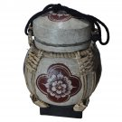 Decorative Wicker and Wood Oriental Pot