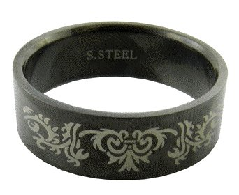 316L Black Stainless Steel Tribal Pattern Handmade Men's Ring