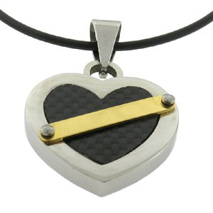 Stainless Steel Carbon Fiber Pendant Heart Pattern