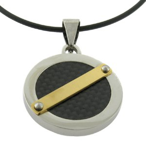 Stainless Steel Carbon Fiber Pendant Circle Pattern