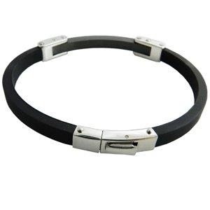 316L Black Rubber Stainless steel Men's Bracelet