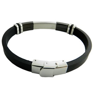 316L Stainless Steel Black Rubber Bracelet