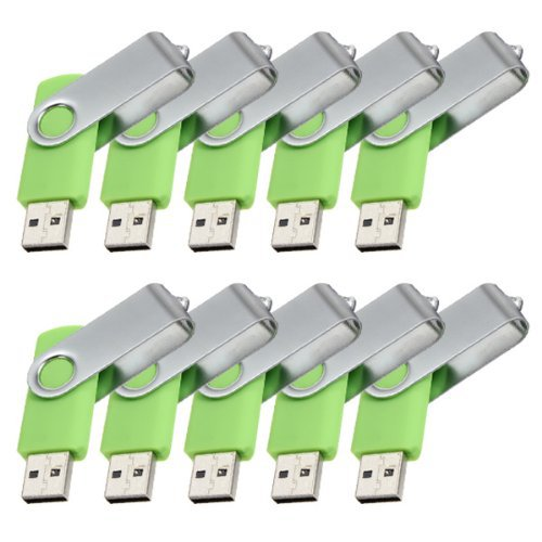 Enfain® 10pcs Cheap Giveaway Bulk 64MB USB 2.0 Flash Memory Thumb Drive(64MB, Green)