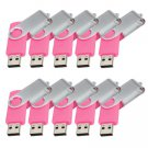 Enfain® 10pcs Swivel Design Waterproof USB 2.0 Flash Drive Memory Stick Fold Storage (512MB, Pink)