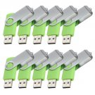 Enfain® 10pcs Swivel Design Waterproof USB 2.0 Flash Drive Memory Stick Fold Storage (512MB,Green)
