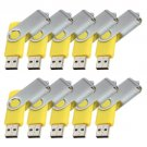Enfain® 10pcs Swivel Design Waterproof USB 2.0 Flash Drive Memory Stick Fold Storage (512MB,Yellow)