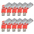 Enfain® 10Pcs Nice Swivel Design New Waterproof USB 2.0 Flash Drive Memory Stick(1GB,Red)