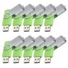 Enfain® 10Pcs Nice Swivel Design New Waterproof USB 2.0 Flash Drive Memory Stick(32GB,Green)