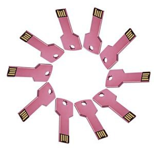 Enfain® 10Pcs 128MB Metal Key USB 2.0 Flash Drive Memory Stick Pen Drive Multi Color Choice(Pink)