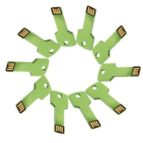 Enfain® 10Pcs Cheap Bulk 256MB Metal Key USB 2.0 Flash Drive Memory Stick Pen Drive(Green)