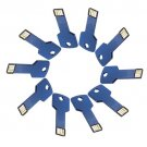 Enfain® 10Pcs Metal Key 8GB USB Flash Drive 2.0 Memory Stick Multi Color Choice (Dark Blue)