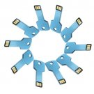 Enfain® 10Pcs Metal Key 16GB USB Flash Drive 2.0 Memory Stick Multi Color Choice (Blue)