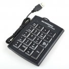 Enfain® USB 19 Keys Black Color Numeric Numerical Keypad Keyboard Pad for Laptop PC