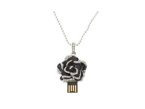 Enfain® Black Crystal Rose Flower Pendant Necklace Style 16GB USB Flash Pendrive Memory Stick