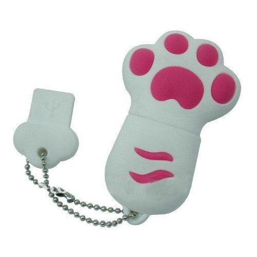 Enfain® Cute Animal Paw keychain USB Flash Drive Cartoon USB 2.0 Memory Stick U Disk (8GB, White)