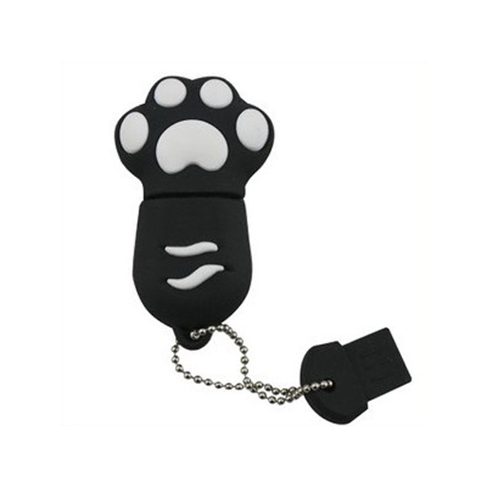 Enfain® Cute Animal Paw keychain USB Flash Drive Cartoon USB 2.0 Memory Stick U Disk (8GB, Black)
