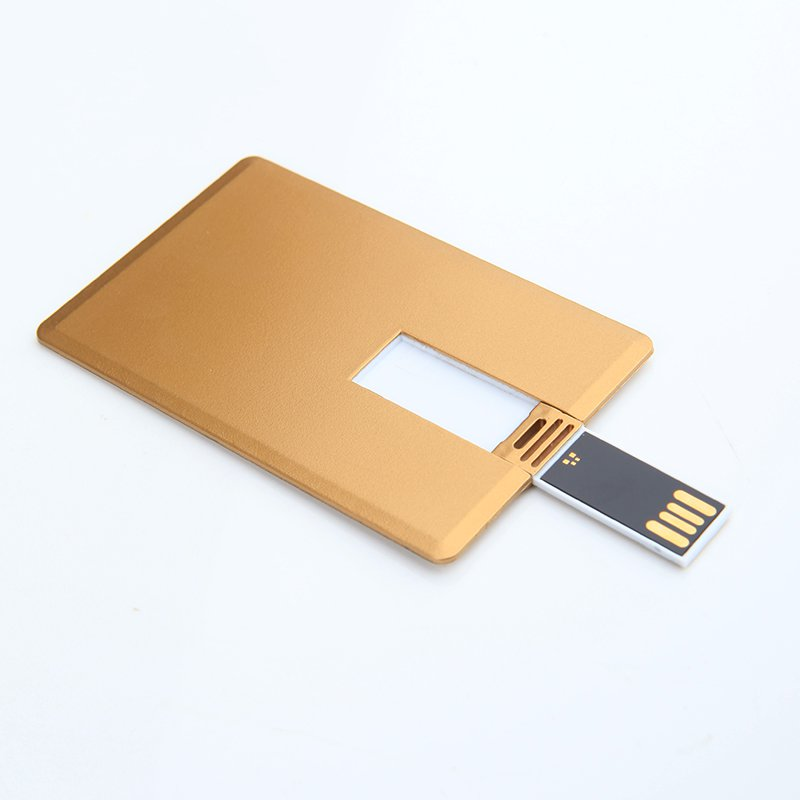 Enfain® 10pcs Bulk 16GB USB 2.0 Business Card USB Flash Drive Memory Stick (Golden, 10pcs)