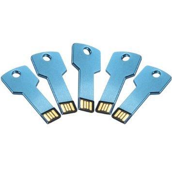 Enfain® 5Pcs 2GB Bulk Promotional Metal Key USB Flash Drive 2.0 Memory Stick Pen Drive(Blue)
