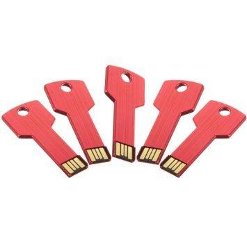 Enfain® 5Pcs 4GB Metal Key USB 2.0 Flash Drive Memory Stick Pen Drive Multi Color Choice (Red)