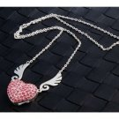 Enfain® Pink Crystal Pendant Angel Heart USB Flash Drive 2.0 16GB Memory Stick U Disk with Necklace