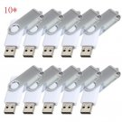 Print Logo for Free-100pcs 8GB White Swivel Custom USB Flash Memory Stick 2.0