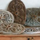 FABULOUS RUSTIC IRON  ANTIQUE Architectural Fragment Pediment WALL PLAQUE 1870's