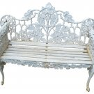 MAGNIFICENT ENGLISH WHITE ORNATE CAST IRON/WOOD BENCH,60''W X 28''D X 37.5''H.