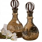 GORGEOUS SET OF 2 AMBER LUSTER GLASS DECANTERS W/IRON TOP,16''TALL.