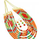 Awesome Bohemian Multi color Lucite Beads Necklace& Earrings set,18''L.