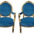 Stunning pair of Italian Gilt , Blue Velvet Chairs,23.5'' 22'' x 40''tall.