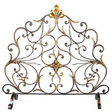 AWESONE IRON CASSOLON FIRE SCREEN,31''W X 8''D X 28''TALL.