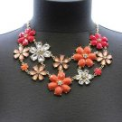 Awesome Bohemian Multi color Coral Flowers Glass Beads Necklace