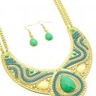 Awesome Bohemian Multi color Mint Lucite/Metal Beads Necklace& Errings set,18''l