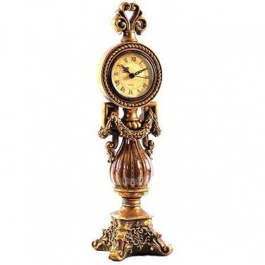 GORGEOUS  VINTAGE STYLE GARLAND MANTEL RESIN CLOCK, 4.5''W X 4''D X 14''TALL