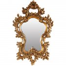 ANTIQUE STYLE FABULOUS PETITE BAROQUE GOLD GILT MIRROR,26.5'' X 17''H.